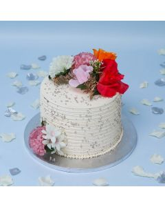 Flowers and Pearl Ribbon Cake (FRZ A2711)