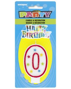 Happy Birthday Decor Glitter Candle - Shape Number 0 (P176)